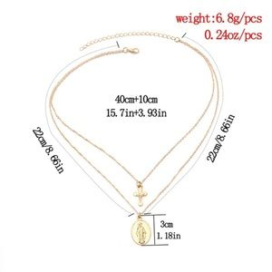 Jewelry - Virgin Mary + Cross Double Layer Gold Necklace